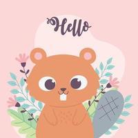 lindo castor animal flores rama frase inspiradora dibujos animados vector