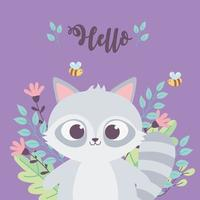 cute raccoon bees animal flowers branch inspirational phrase cartoon vector