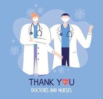 gracias médicos y enfermeras, médicos profesionales con personajes de máscaras protectoras