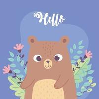 cute little bear animal flowers branch inspirational phrase cartoon vector