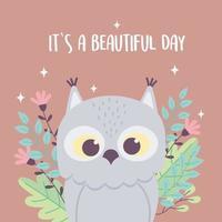 lindo búho pájaro animal flores rama frase inspiradora dibujos animados vector