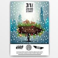 Christmas party poster design with wooden pointer with frame of Christmas tree branches decorated with presents and candy canes on background with winter forest vector