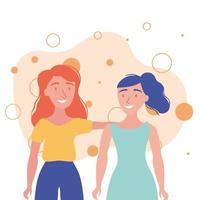 women avatars friends vector design