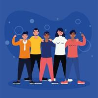 women and men avatars friends vector design