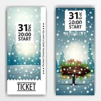 Christmas party ticket design with wooden pointer with frame of Christmas tree branches on background with winter forest