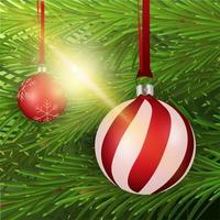 Large red and white Christmas ball on background with Christmas tree, vector illustration