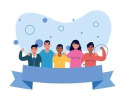 Amigos de avatares de mujeres y hombres con diseño de vector de cinta
