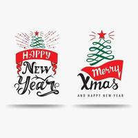 Merry Christmas and Happy New Year, Christmas Calligraphic signs in form of Christmas tree