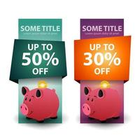 Set of vertical discount banners with Piggy bank with gold coins isolated on white vector
