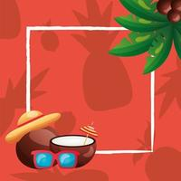summer coconuts, glasses, hat and palm tree frame vector design