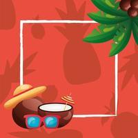 cocos de verano, gafas, sombrero y diseño de vector de marco de palmera