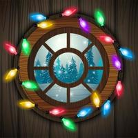 Round window in wooden door with views of the winter forest decorated with lights vector