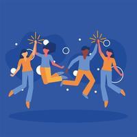 Avatares de mujeres y hombres amigos diseño vectorial