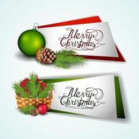 Merry Christmas, collection of greeting stickers with Christmas elements isolated on white background vector