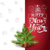 Happy New Year, red and white postcard with beautiful lettering and cartoon Christmas tree vector