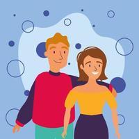mujer y hombre avatar amigos diseño vectorial vector