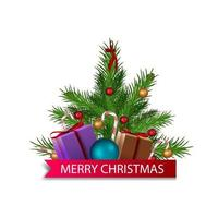 Cartoon Christmas tree decorated with presents and red ribbon with greeting vector