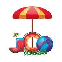 paraguas, flotador, jugo, sandía y diseño de vector de bola