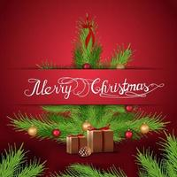Merry Christmas, red postcard with Christmas tree with presents vector