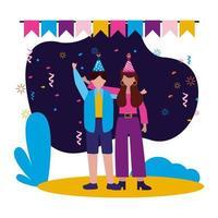 mujer y hombre, con, feliz cumpleaños, sombreros, vector, diseño vector