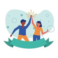 woman and man avatar friends with ribbon vector design