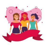 Avatares de mujeres amigos con diseño de vector de cinta