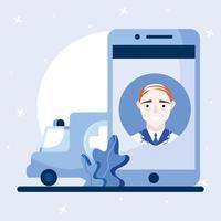 Doctor masculino en línea en diseño vectorial de teléfono inteligente y ambulancia