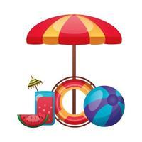 paraguas, flotador, pelota, jugo y diseño vectorial de sandía