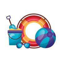 verano, flotador, bola, cubo de arena y diseño de vectores de gafas