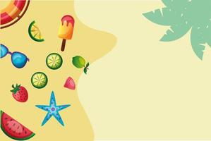 watermelon, star, strawberry, lemons, ice cream, glasses, and float vector design