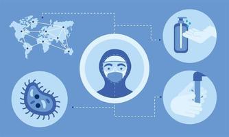 Doctor masculino con desinfectante de virus de mapa uniforme y diseño vectorial de lavado de manos