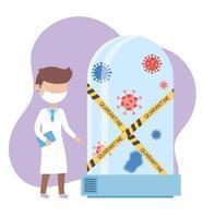 covid 19 coronavirus pandemic, doctor with mask and quarantine with coronavirus vector
