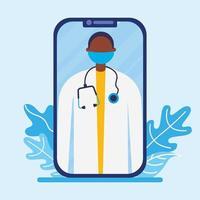 Doctor masculino en línea con máscara en diseño vectorial de teléfono inteligente