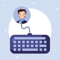 hombre con fiebre y diseño vectorial de teclado