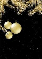 Gold and black Christmas card design vector