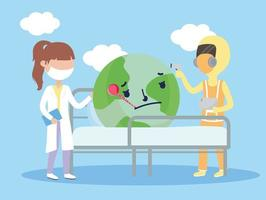 covid 19 coronavirus pandemic, female and male doctors consult world in bed with thermometer
