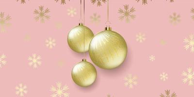 Christmas banner design with hanging baubles