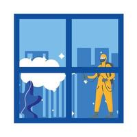 Man with protective suit spraying truck vector design
