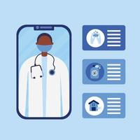 online male doctor with mask on smartphone and icon set vector design