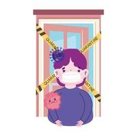 pandemia de coronavirus covid 19, niño con máscara protectora en cuarentena domiciliaria vector