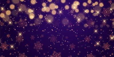 Christmas banner design with stars and bokeh lights vector