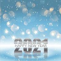 Happy New Year background with bokeh lights, stars and snowflakes