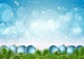 Christmas snowflakes and baubles background
