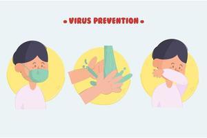 paquete de ilustración de prevención de virus