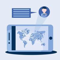 Doctor masculino en línea con burbuja de teléfono inteligente y diseño de vector de mapa mundial