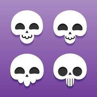 Cute Skull Cartoon Character Collection vector