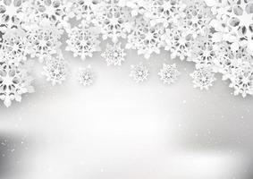 Christmas snowflakes background in papercut style vector