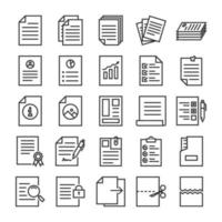 Documents outline icon set