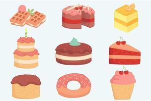 ilustración de decoración de pastel de cumpleaños vector