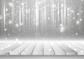Christmas background with wooden table looking out to silver sparkling design vector